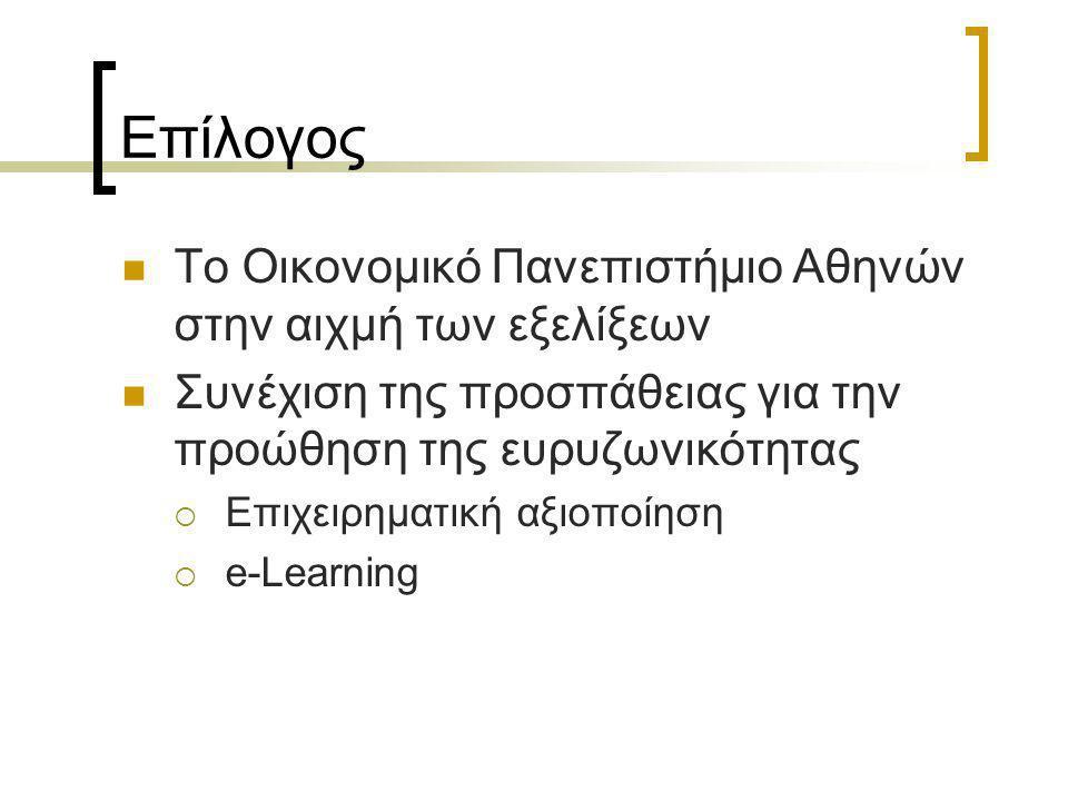 Επίλογος  Το Οικονομικό Πανεπιστήμιο Αθηνών στην αιχμή των εξελίξεων  Συνέχιση της προσπάθειας για την προώθηση της ευρυζωνικότητας  Επιχειρηματική αξιοποίηση  e-Learning