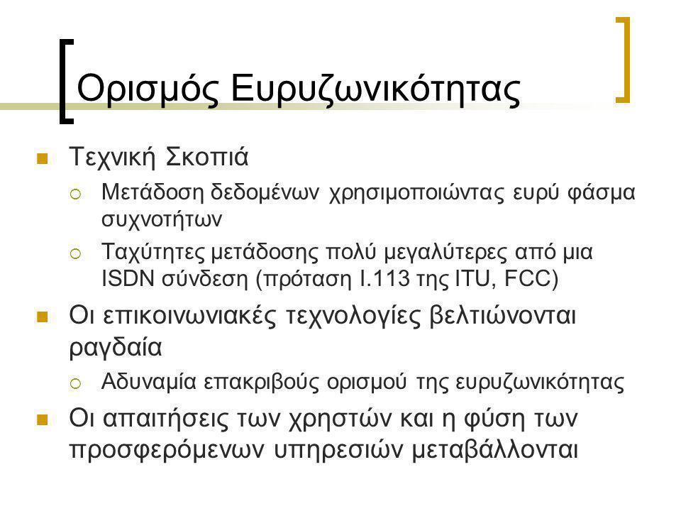 Ευρυζωνικότητα στην Ελλάδα Πρόσκληση 84  Ασύρματη Πρόσβαση  Πρωτόκολλα 802.11a/b/g  Μέγιστη Ταχύτητα 54Mbps  Δυνατότητα πρόσβασης σε όλα τα μέλη της Πανεπιστημιακής κοινότητας  Χρήση σύγχρονων Πρωτοκόλλων Κρυπτογράφησης Δεδομένων και Αυθεντικοποίησης Χρηστών (WPA, EAP, RADIUS)