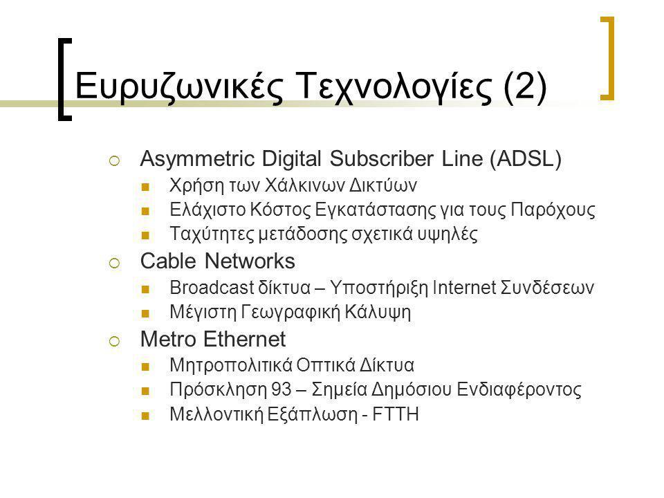 Ευρυζωνικές Τεχνολογίες (2)  Asymmetric Digital Subscriber Line (ADSL)  Χρήση των Χάλκινων Δικτύων  Ελάχιστο Κόστος Εγκατάστασης για τους Παρόχους  Ταχύτητες μετάδοσης σχετικά υψηλές  Cable Networks  Broadcast δίκτυα – Υποστήριξη Internet Συνδέσεων  Μέγιστη Γεωγραφική Κάλυψη  Metro Ethernet  Μητροπολιτικά Οπτικά Δίκτυα  Πρόσκληση 93 – Σημεία Δημόσιου Ενδιαφέροντος  Μελλοντική Εξάπλωση - FTTH
