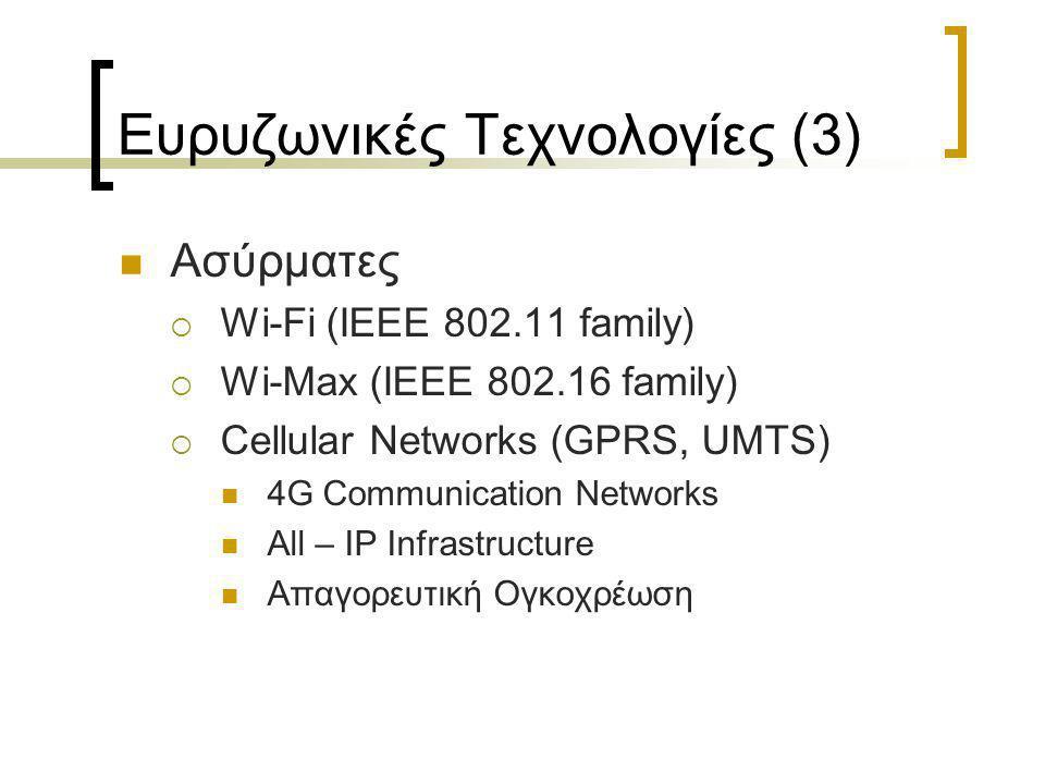Ευρυζωνικές Τεχνολογίες (3)  Ασύρματες  Wi-Fi (ΙΕΕΕ 802.11 family)  Wi-Max (ΙΕΕΕ 802.16 family)  Cellular Networks (GPRS, UMTS)  4G Communication Networks  All – IP Infrastructure  Απαγορευτική Ογκοχρέωση
