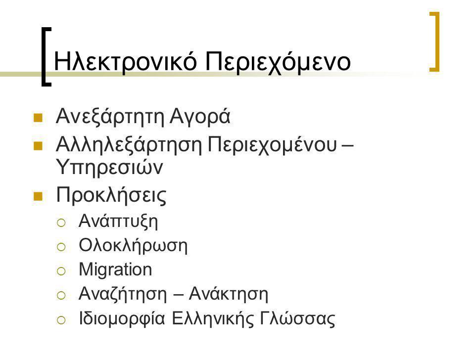 Ηλεκτρονικό Περιεχόμενο  Ανεξάρτητη Αγορά  Αλληλεξάρτηση Περιεχομένου – Υπηρεσιών  Προκλήσεις  Ανάπτυξη  Ολοκλήρωση  Migration  Αναζήτηση – Ανάκτηση  Ιδιομορφία Ελληνικής Γλώσσας