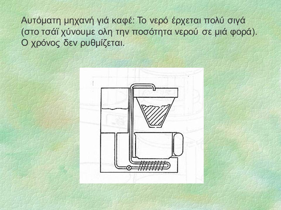 Αυτόματη μηχανή γιά καφέ: Το νερό έρχεται πολύ σιγά (στο τσάϊ χύνουμε ολη την ποσότητα νερού σε μιά φορά). Ο χρόνος δεν ρυθμίζεται.