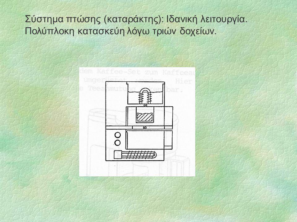 Σύστημα πτώσης (καταράκτης): Ιδανική λειτουργία. Πολύπλοκη κατασκεύη λόγω τριών δοχείων.