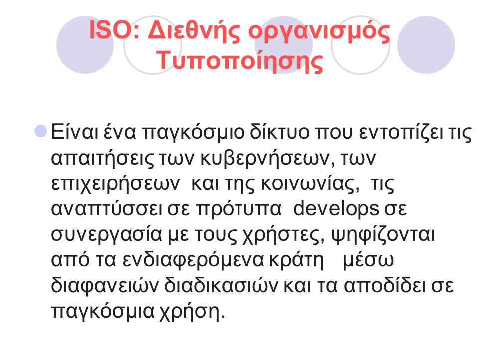 ISO: Διεθνής οργανισμός Τυποποίησης  Eίναι ένα παγκόσμιο δίκτυο που εντοπίζει τις απαιτήσεις των κυβερνήσεων, των επιχειρήσεων και της κοινωνίας, τις