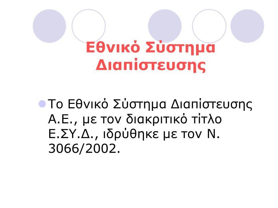 Εθνικό Σύστημα Διαπίστευσης  Το Εθνικό Σύστημα Διαπίστευσης A.E., με τον διακριτικό τίτλο E.ΣY.Δ., ιδρύθηκε με τον N. 3066/2002.