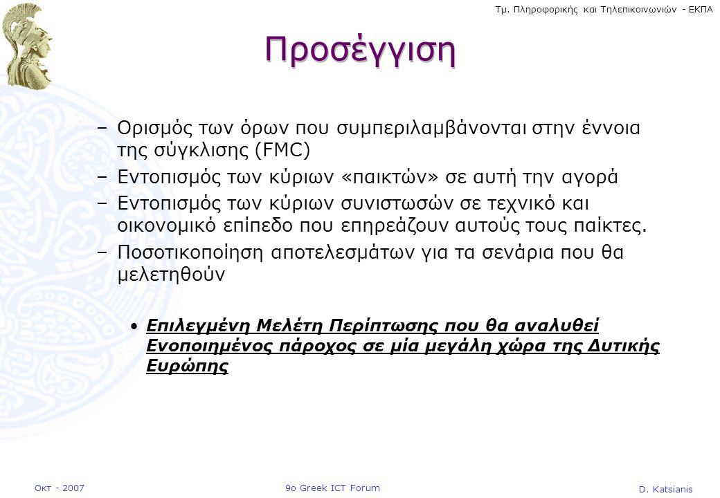 D. Katsianis 9ο Greek ICT ForumΟκτ - 2007 Τμ. Πληροφορικής και Τηλεπικοινωνιών - ΕΚΠΑ Προσέγγιση –Ορισμός των όρων που συμπεριλαμβάνονται στην έννοια