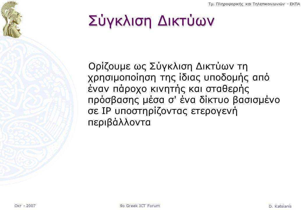 D. Katsianis 9ο Greek ICT ForumΟκτ - 2007 Τμ. Πληροφορικής και Τηλεπικοινωνιών - ΕΚΠΑ Σύγκλιση Δικτύων Ορίζουμε ως Σύγκλιση Δικτύων τη χρησιμοποίηση τ