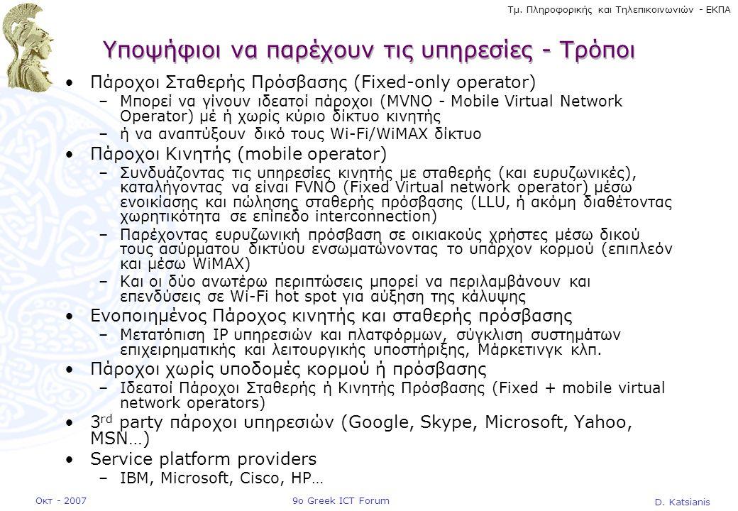 D. Katsianis 9ο Greek ICT ForumΟκτ - 2007 Τμ. Πληροφορικής και Τηλεπικοινωνιών - ΕΚΠΑ Υποψήφιοι να παρέχουν τις υπηρεσίες - Τρόποι •Πάροχοι Σταθερής Π