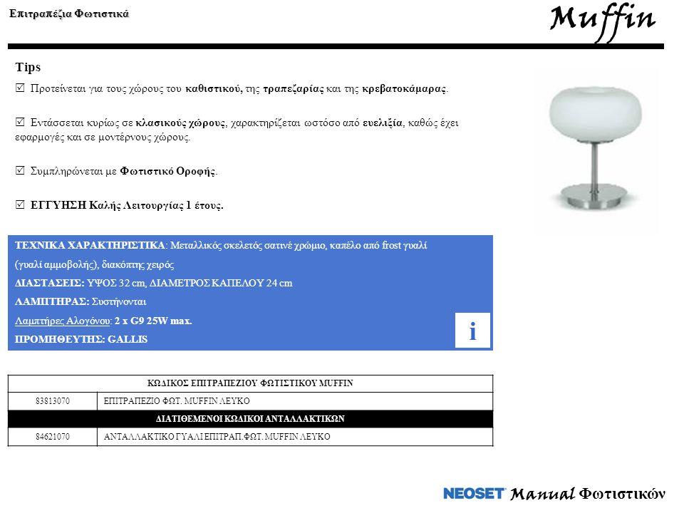 Muffin Ε π ιτρα π έζια Φωτιστικά Tips  Προτείνεται για τους χώρους του καθιστικού, της τραπεζαρίας και της κρεβατοκάμαρας.  Εντάσσεται κυρίως σε κλα