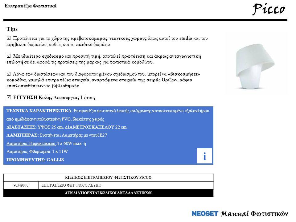 Manual Φωτιστικών ΤΕΧΝΙΚΑ ΧΑΡΑΚΤΗΡΙΣΤΙΚΑ: Επιτραπέζιο φωτιστικό λευκής απόχρωσης κατασκευασμένο εξολοκλήρου από ημιδιάφανη πολυστερίνη PVC, διακόπτης