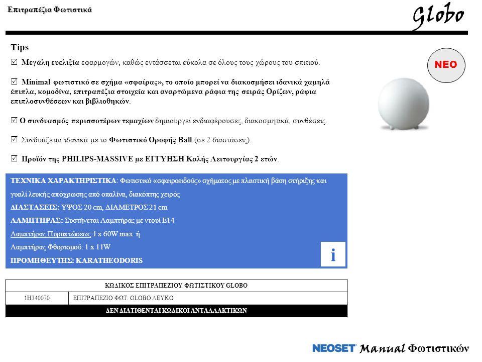 Manual Φωτιστικών ΤΕΧΝΙΚΑ ΧΑΡΑΚΤΗΡΙΣΤΙΚΑ: Φωτιστικό «σφαιροειδούς» σχήματος με πλαστική βάση στήριξης και γυαλί λευκής απόχρωσης από οπαλίνα, διακόπτη
