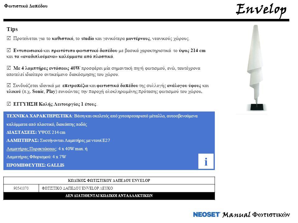 Manual Φωτιστικών Envelop Φωτιστικά Δα π έδου Tips  Προτείνεται για το καθιστικό, το studio και γενικότερα μοντέρνους, νεανικούς χώρους.  Εντυπωσιακ