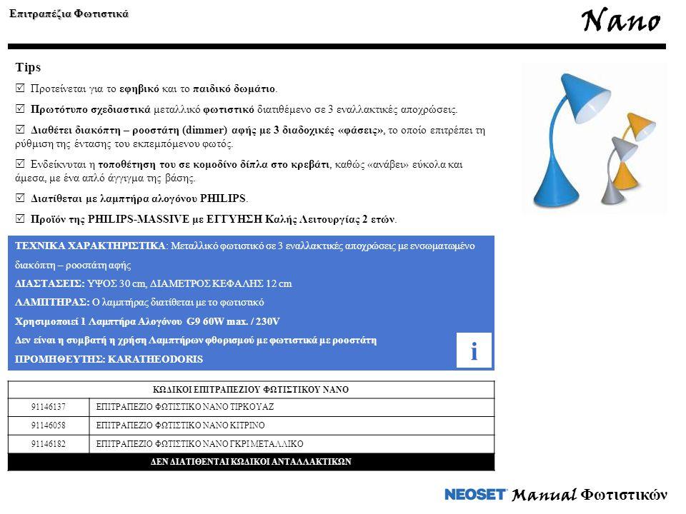 Manual Φωτιστικών ΤΕΧΝΙΚΑ ΧΑΡΑΚΤΗΡΙΣΤΙΚΑ: Μεταλλικό φωτιστικό σε 3 εναλλακτικές αποχρώσεις με ενσωματωμένο διακόπτη – ροοστάτη αφής ΔΙΑΣΤΑΣΕΙΣ: ΥΨΟΣ 3