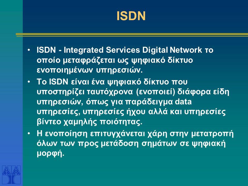 SONET και CCITT Πρότυπα μετάδοσης ψηφιακών δεδομένων με οπτικές ίνες •North American Synchronous Optical Network (SONET) Ευρωπαϊκά πρότυπα – CCITT = I