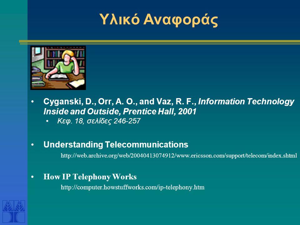 PSTN - Δημόσιο δίκτυο μεταγωγής τηλεφώνου Public Switched Telephone Network (PSTN) Προσφέρει: •Σταθερή τηλεφωνία •Ασύρματη τηλεφωνία •fax (με ενσωματωμένο modem) •Επικοινωνία δεδομένων (data communication) με modem