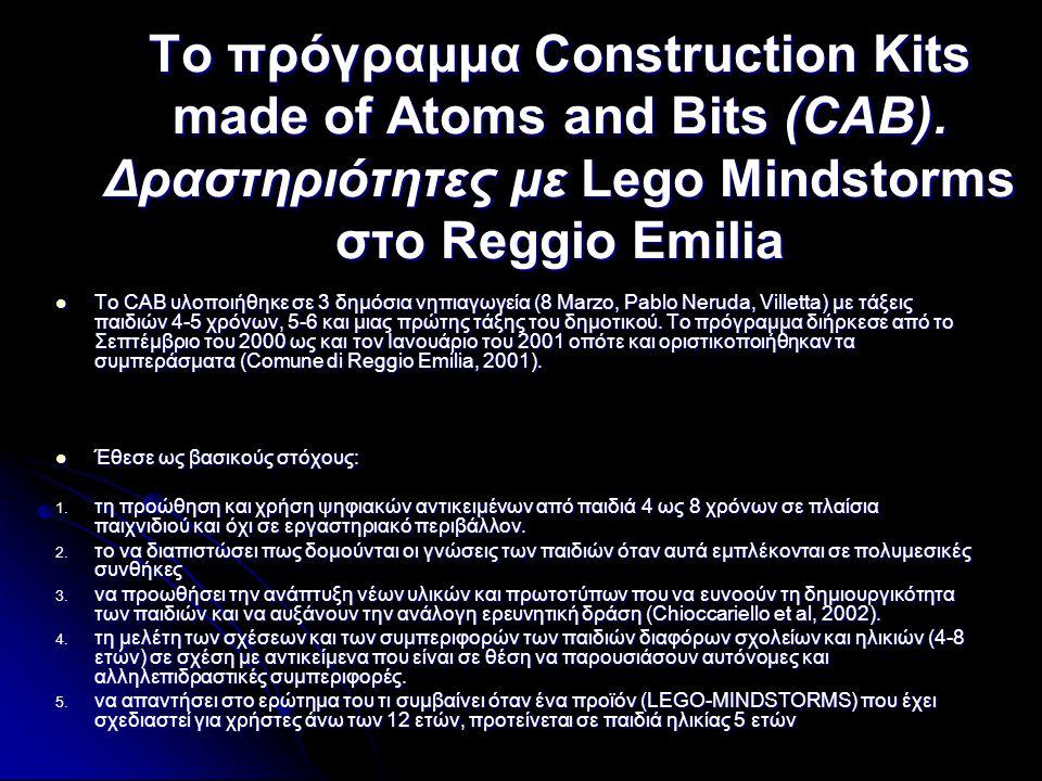 Το πρόγραμμα Construction Kits made of Atoms and Bits (CAB). Δραστηριότητες με Lego Mindstorms στο Reggio Emilia  Το CAB υλοποιήθηκε σε 3 δημόσια νηπ