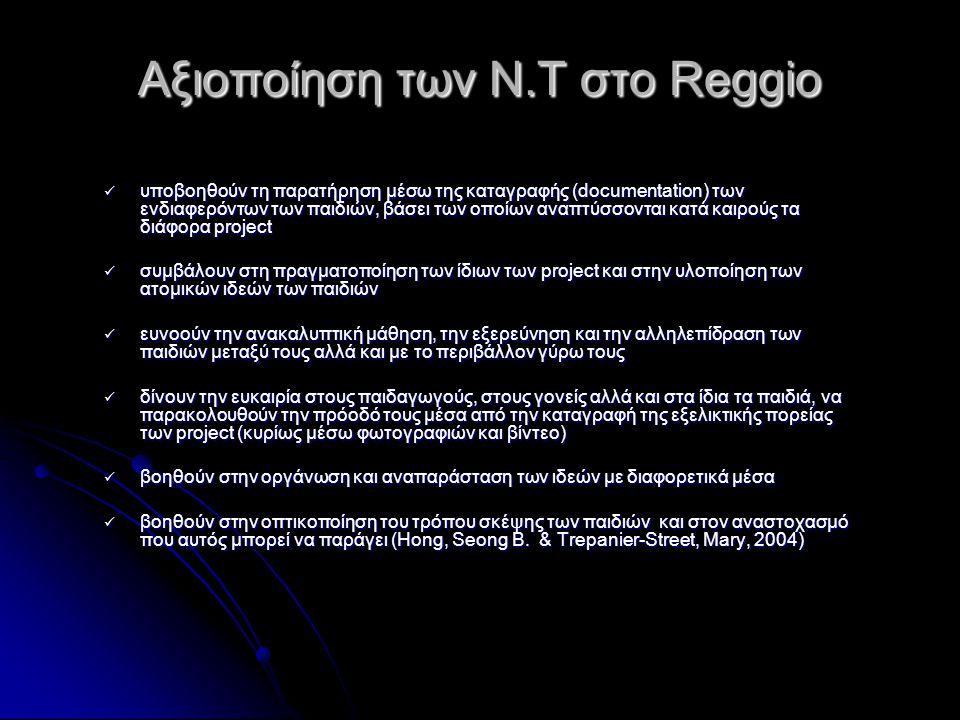 Αξιοποίηση των Ν.Τ στο Reggio  υποβοηθoύν τη παρατήρηση μέσω της καταγραφής (documentation) των ενδιαφερόντων των παιδιών, βάσει των οποίων αναπτύσσο