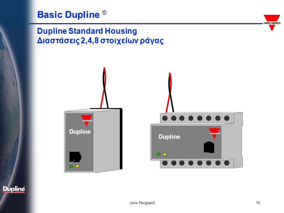 Basic Dupline Basic Dupline ® Jens Neigaard11 Βασικό συστατικό: Η είσοδος = Input - Δέχεται εισόδους από το πεδίο: • Μπουτόν / Επαφές • Οριακοί Διακόπτες • Αισθητήρες • Τάση AC/DC • Αναλογικά Σήματα (0-10V, 0/4…20mA κτλ)