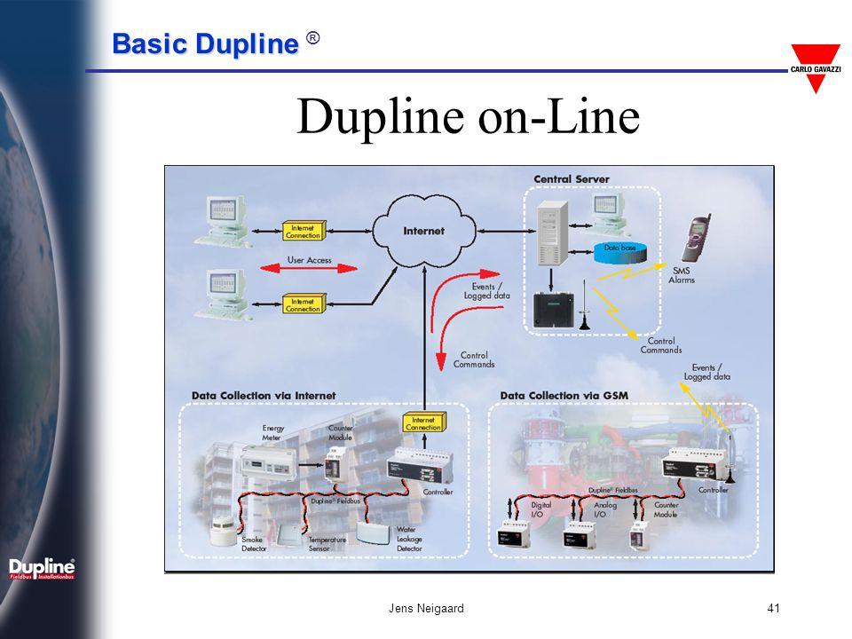 Basic Dupline Basic Dupline ® Jens Neigaard42 • Μετάδοση σε μεγάλες αποστάσεις • Εύκολο στη χρήση • Αποκεντρωμένες Είσοδοι - Έξοδοι • Ανοσία στο θόρυβο • Ελεύθερη τοπολογία καλωδιώσεων • Δεν απαιτούνται ειδικά καλώδια • Ύπαρξη συσκευών που δεν απαιτούν εξωτερική τροφοδοσία • Οικονομικό • Προσαρμόζεται με άλλα συστήματα του εμπορίου • Ευέλικτο και ανθεκτικό • Plug & Play κωδικοποίηση και έλεγχος – Δεν απαιτείται Η/Υ • Τηλεχειρισμός μέσω κινητών τηλεφώνων και Internet ΣΥΝΟΨΙΖΟΝΤΑΣ ΓΙΑ ΤΟ DUPLINE