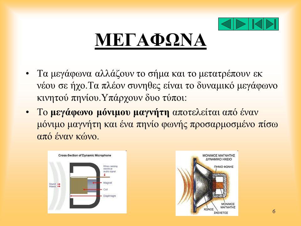 6 ΜΕΓΑΦΩΝΑ •Τα μεγάφωνα αλλάζουν το σήμα και το μετατρέπουν εκ νέου σε ήχο.Τα πλέον συνηθες είναι το δυναμικό μεγάφωνο κινητού πηνίου.Υπάρχουν δυο τύπ