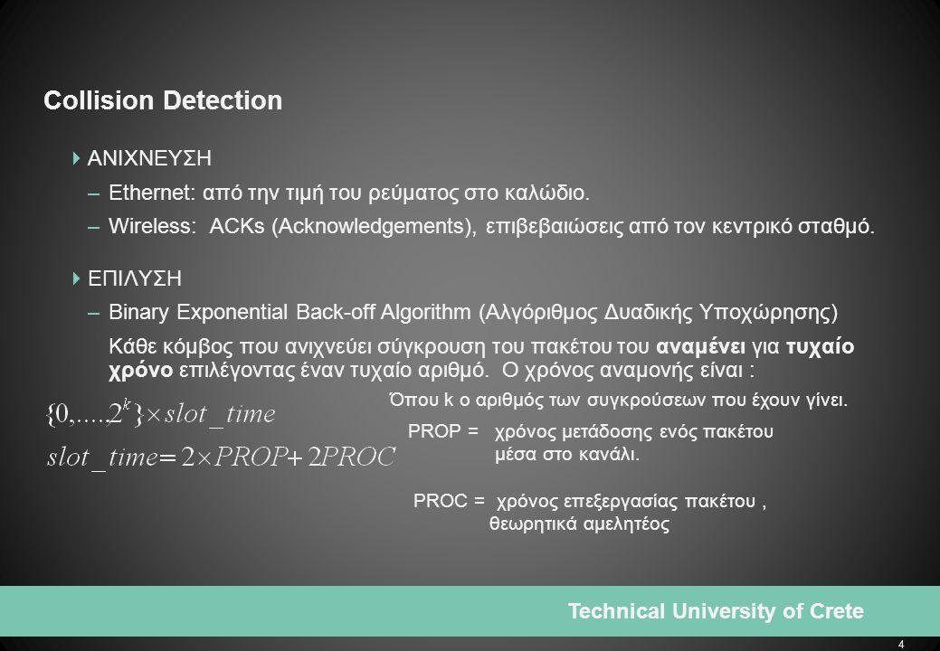 4 Technical University of Crete Collision Detection  ΑΝΙΧΝΕΥΣΗ –Ethernet: από την τιμή του ρεύματος στο καλώδιο.