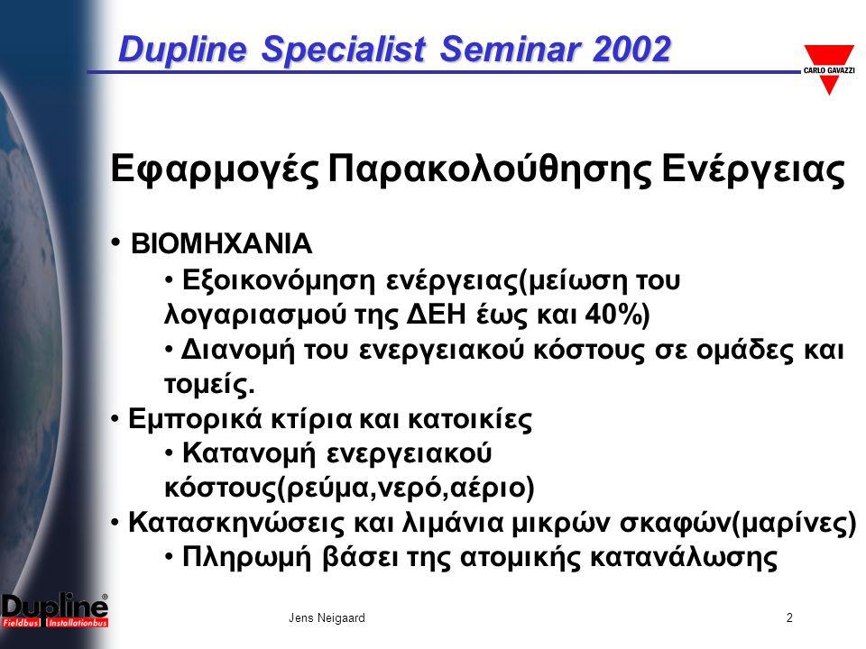 Dupline Specialist Seminar 2002 Jens Neigaard2 Εφαρμογές Παρακολούθησης Ενέργειας • ΒΙΟΜΗΧΑΝΙΑ • Εξοικονόμηση ενέργειας(μείωση του λογαριασμού της ΔΕΗ έως και 40%) • Διανομή του ενεργειακού κόστους σε ομάδες και τομείς.
