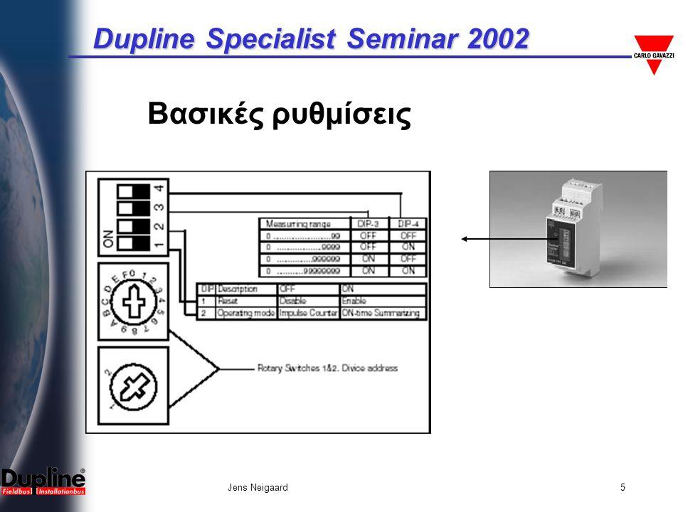 Dupline Specialist Seminar 2002 Jens Neigaard5 Βασικές ρυθμίσεις