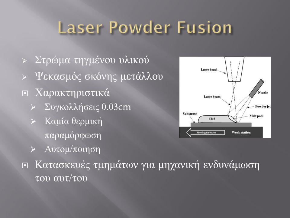  Στρώμα τηγμένου υλικού  Ψεκασμός σκόνης μετάλλου  Χαρακτηριστικά  Συγκολλήσεις 0.03cm  Καμία θερμική παραμόρφωση  Αυτομ / ποιηση  Κατασκευές τ