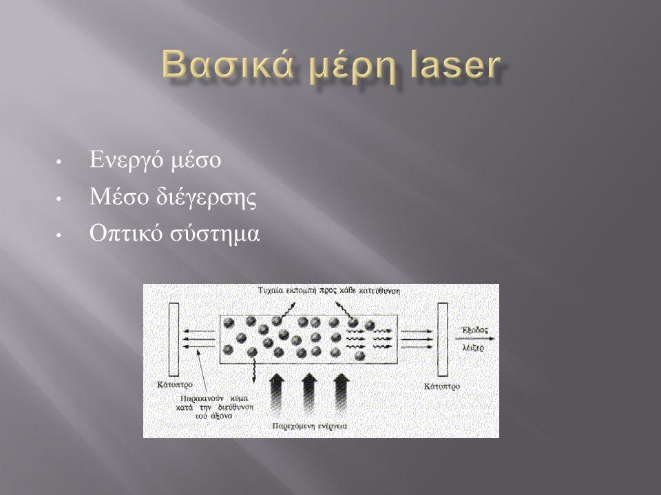 • Ενεργό μέσο • Μέσο διέγερσης • Οπτικό σύστημα