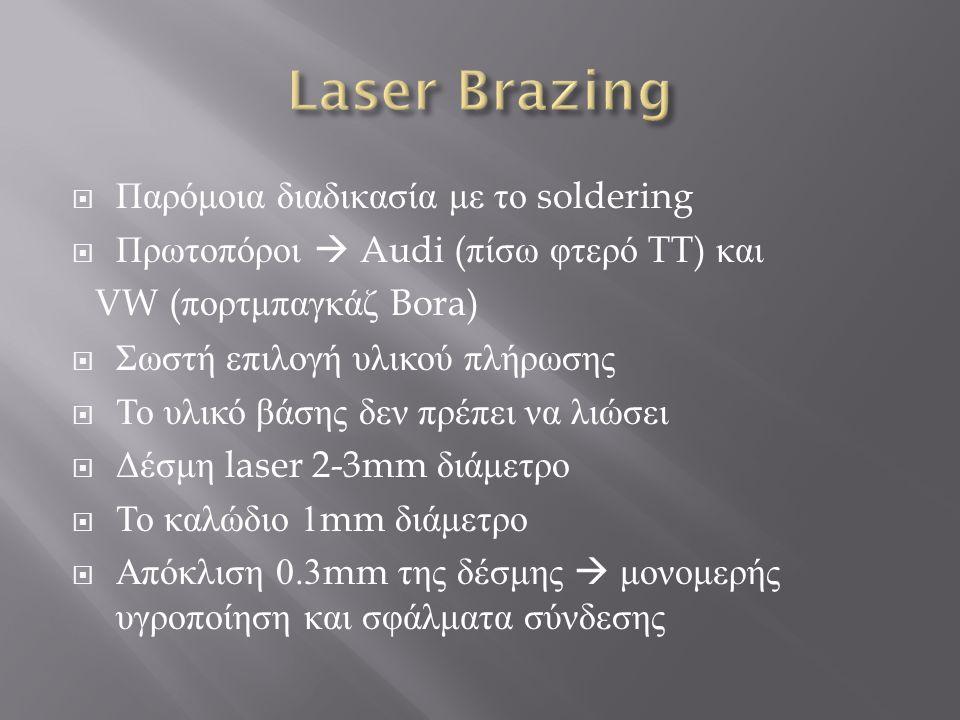  Παρόμοια διαδικασία με το soldering  Πρωτοπόροι  Audi ( πίσω φτερό TT) και VW ( πορτμπαγκάζ Bora)  Σωστή επιλογή υλικού πλήρωσης  Το υλικό βάσης δεν πρέπει να λιώσει  Δέσμη laser 2-3mm διάμετρο  Το καλώδιο 1mm διάμετρο  Απόκλιση 0.3mm της δέσμης  μονομερής υγροποίηση και σφάλματα σύνδεσης