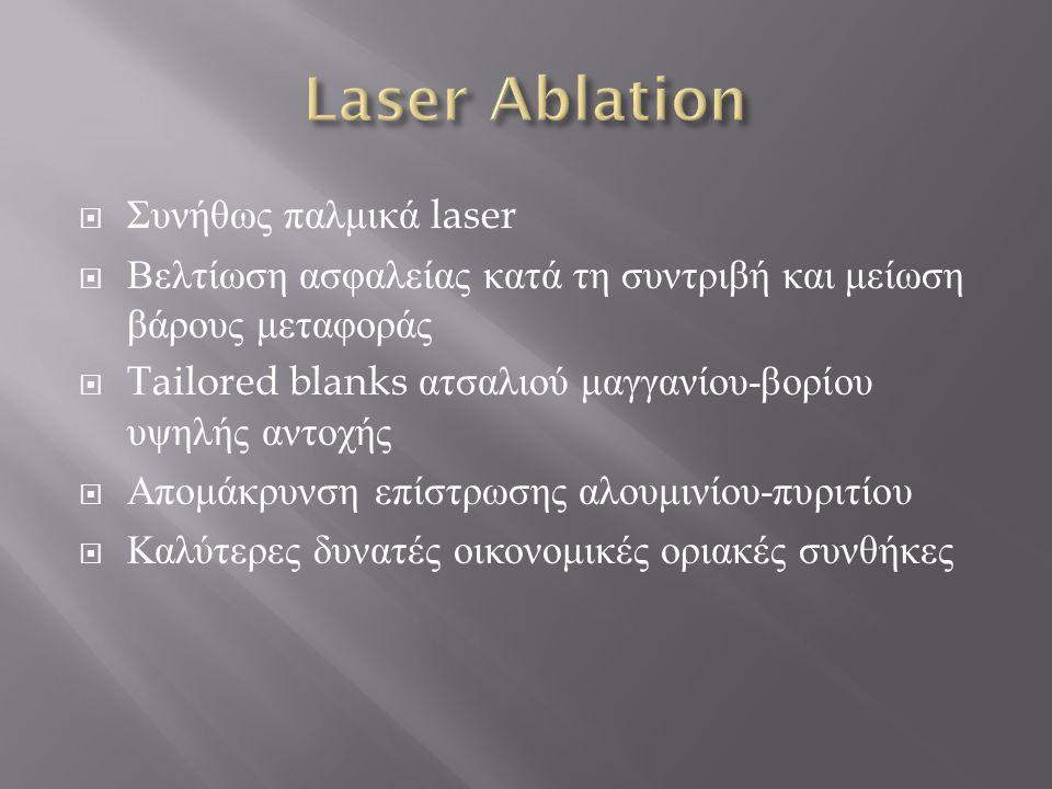 Συνήθως παλμικά laser  Βελτίωση ασφαλείας κατά τη συντριβή και μείωση βάρους μεταφοράς  Tailored blanks ατσαλιού μαγγανίου - βορίου υψηλής αντοχής  Απομάκρυνση επίστρωσης αλουμινίου - πυριτίου  Καλύτερες δυνατές οικονομικές οριακές συνθήκες