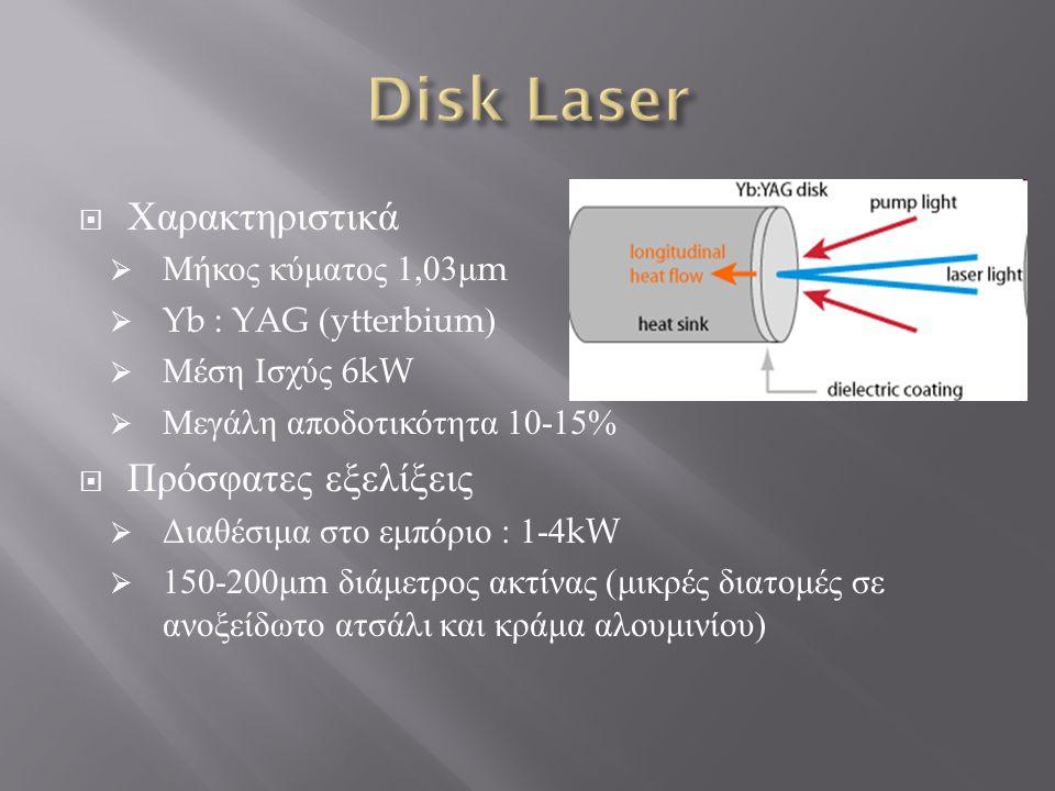 Χαρακτηριστικά  Μήκος κύματος 1,07 μ m  Ενεργό μέσο οπτική ίνα ενισχυμένη με σπάνια στοιχεία ( υττέρβιο, έρβιο, νεοδύμιο κ.