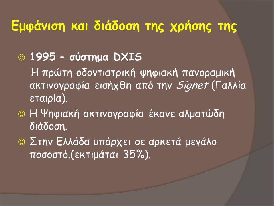 Εμφάνιση και διάδοση της χρήσης της  1995 – σύστημα DXIS Η πρώτη οδοντιατρική ψηφιακή πανοραμική ακτινογραφία εισήχθη από την Signet (Γαλλία εταιρία)