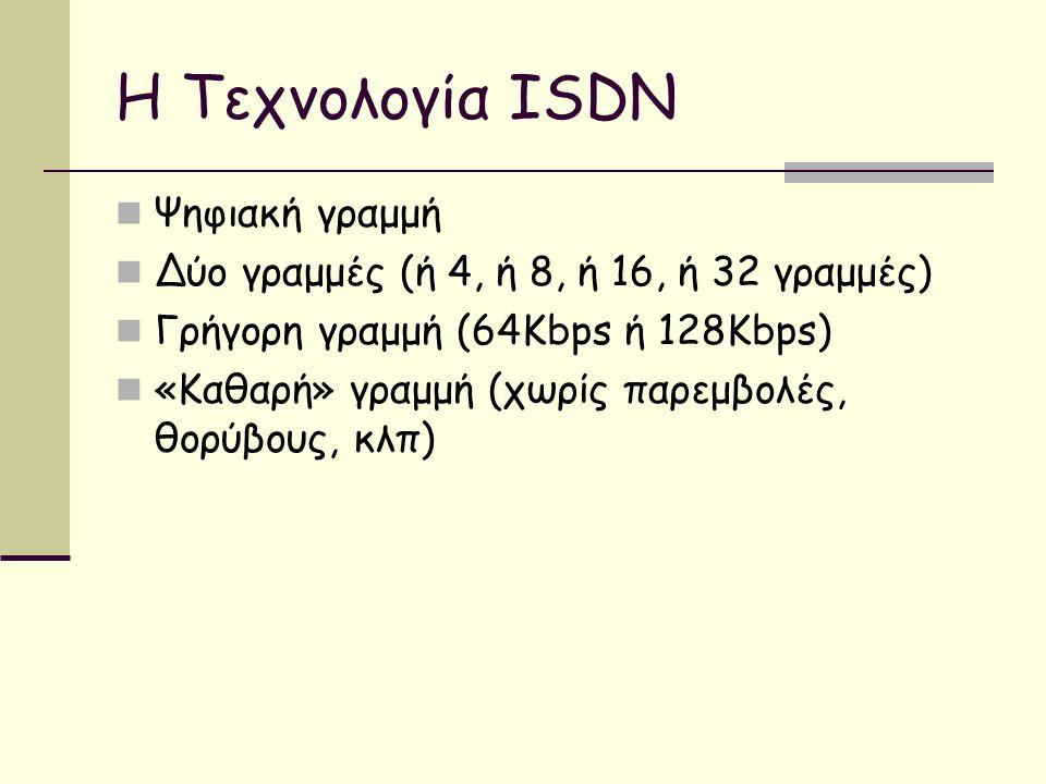 Η Τεχνολογία ISDN  Ψηφιακή γραμμή  Δύο γραμμές (ή 4, ή 8, ή 16, ή 32 γραμμές)  Γρήγορη γραμμή (64Kbps ή 128Kbps)  «Καθαρή» γραμμή (χωρίς παρεμβολές, θορύβους, κλπ)