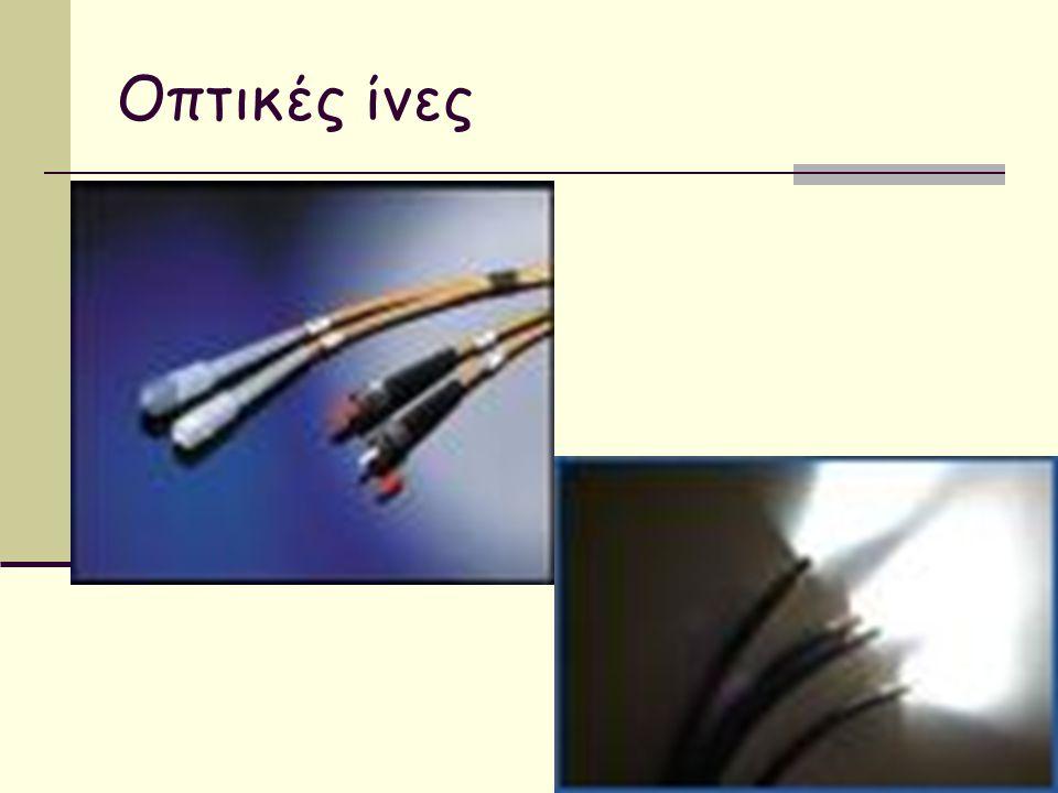 Οπτικές ίνες (fibers) Τα δεδομένα μεταφέρονται με τη μορφή φωτός μέσα από λεπτά γυάλινα «καλώδια»  Είναι πάρα πολύ γρήγορες και αξιόπιστες  Μπορούν να μεταφέρουν ακόμα μεγαλύτερες ποσότητες δεδομένων  Δεν επηρεάζονται από ηλεκτρονικές παρεμβολές  Υψηλό κόστος