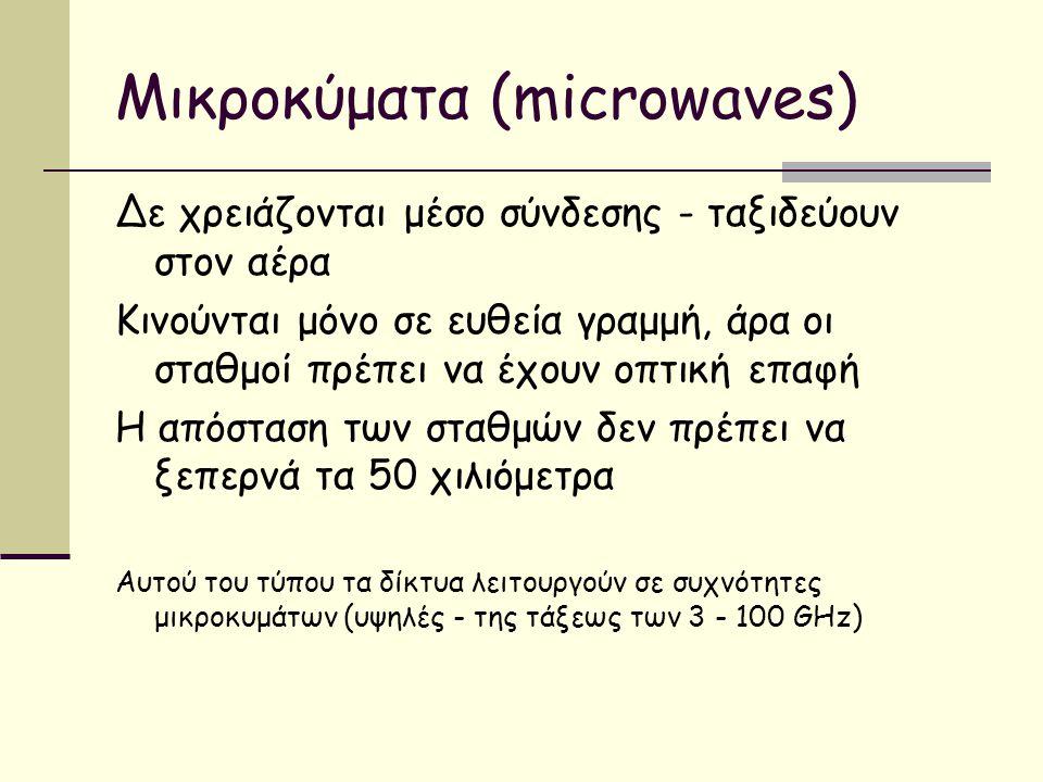 Μικροκύματα (microwaves) Δε χρειάζονται μέσο σύνδεσης - ταξιδεύουν στον αέρα Κινούνται μόνο σε ευθεία γραμμή, άρα οι σταθμοί πρέπει να έχουν οπτική επαφή Η απόσταση των σταθμών δεν πρέπει να ξεπερνά τα 50 χιλιόμετρα Αυτού του τύπου τα δίκτυα λειτουργούν σε συχνότητες μικροκυμάτων (υψηλές - της τάξεως των 3 - 100 GHz)