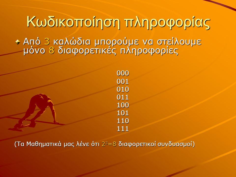 Κωδικοποίηση πληροφορίας Από 3 καλώδια μπορούμε να στείλουμε μόνο 8 διαφορετικές πληροφορίες 000 000 001 001 010 010 011 011 100 100 101 101 110 110 1