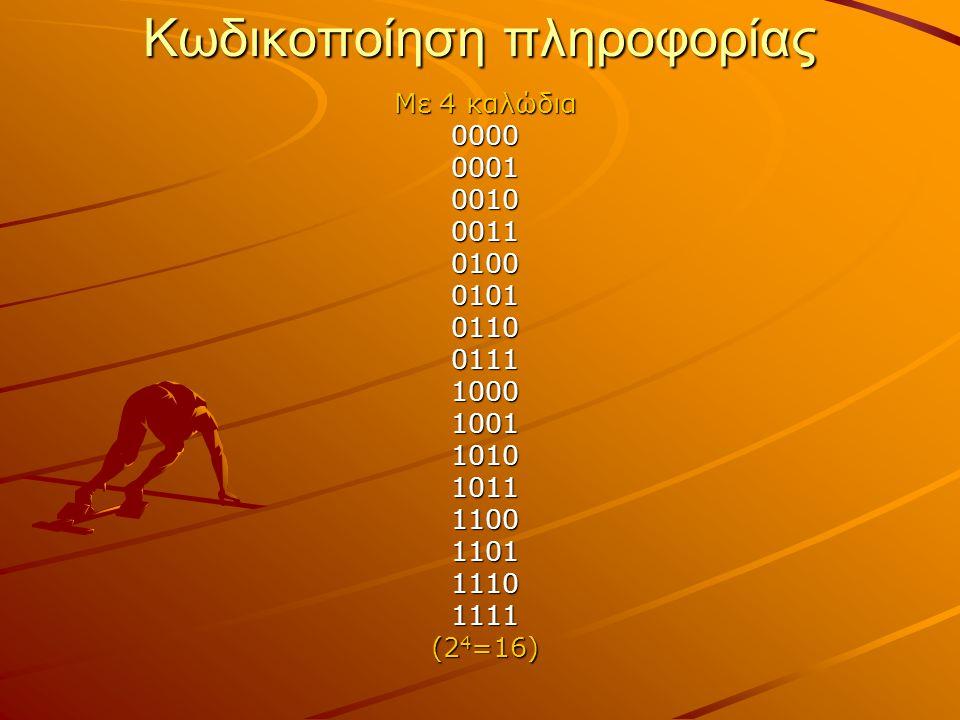 Κωδικοποίηση πληροφορίας Με 4 καλώδια 0000000100100011010001010110011110001001101010111100110111101111 (2 4 =16)