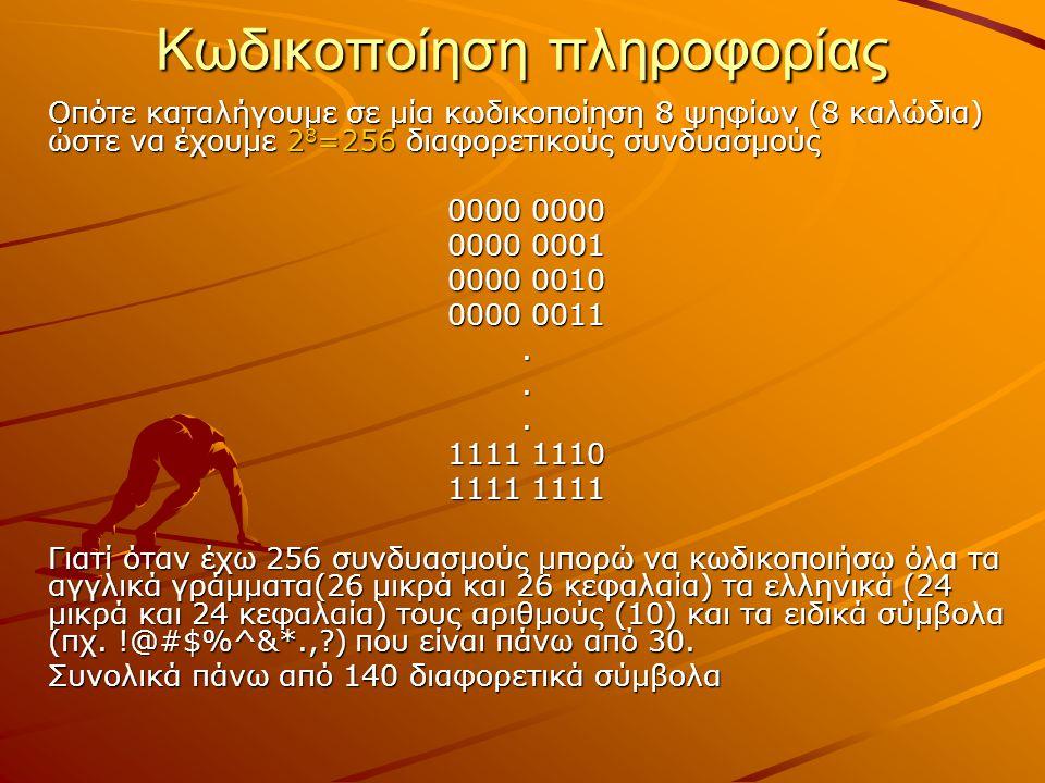 Κωδικοποίηση πληροφορίας Οπότε καταλήγουμε σε μία κωδικοποίηση 8 ψηφίων (8 καλώδια) ώστε να έχουμε 2 8 =256 διαφορετικούς συνδυασμούς 0000 0000 0000 0
