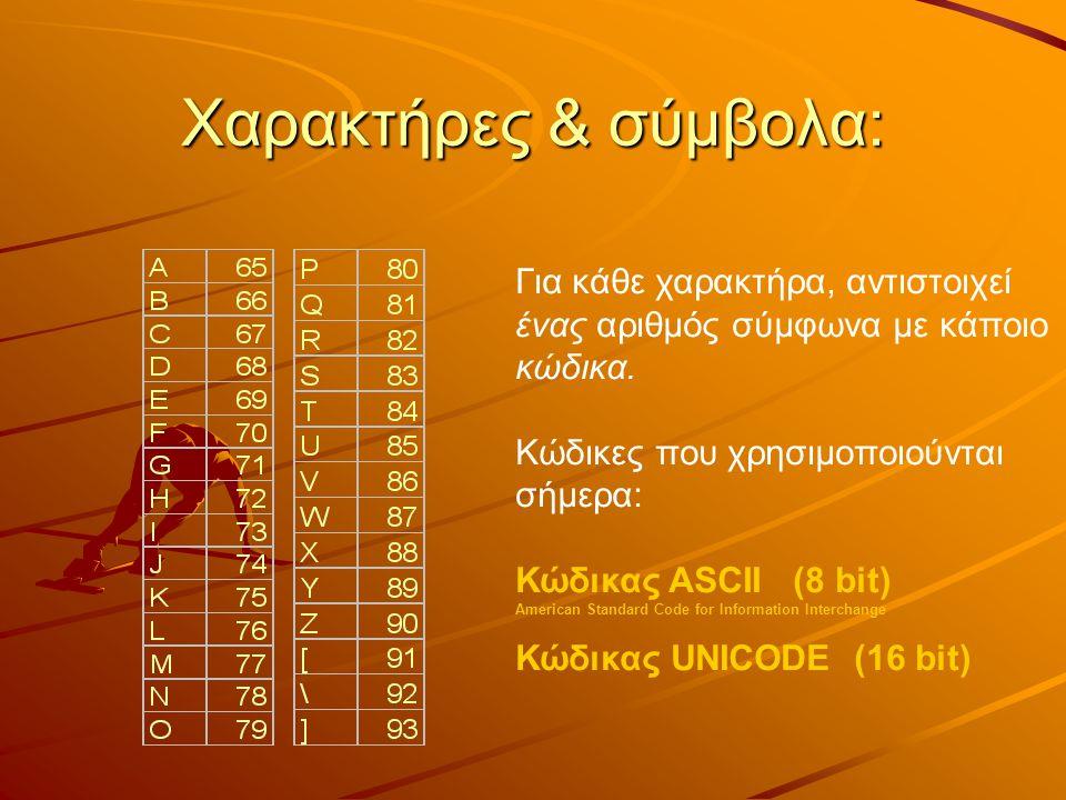 Χαρακτήρες & σύμβολα: Για κάθε χαρακτήρα, αντιστοιχεί ένας αριθμός σύμφωνα με κάποιο κώδικα. Κώδικες που χρησιμοποιούνται σήμερα: Κώδικας ASCII (8 bit