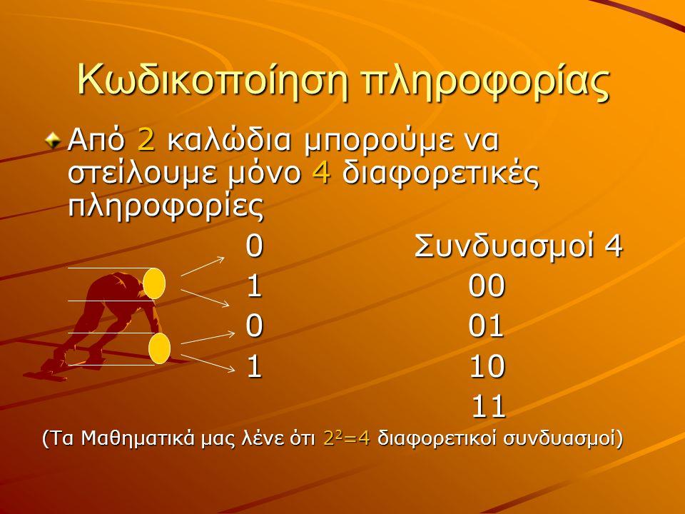 Κωδικοποίηση πληροφορίας Από 2 καλώδια μπορούμε να στείλουμε μόνο 4 διαφορετικές πληροφορίες 0 Συνδυασμοί 4 0 Συνδυασμοί 4 1 00 1 00 0 01 0 01 1 10 1