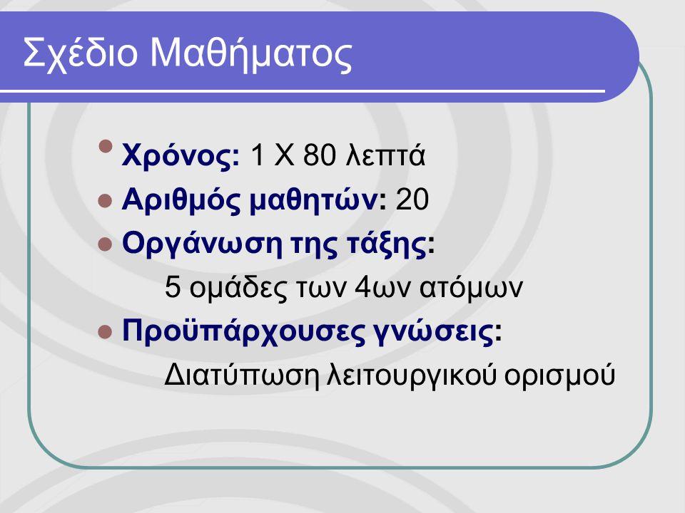 Σχέδιο Μαθήματος • Χρόνος: 1 Χ 80 λεπτά  Αριθμός μαθητών: 20  Οργάνωση της τάξης: 5 ομάδες των 4ων ατόμων  Προϋπάρχουσες γνώσεις: Διατύπωση λειτουργικού ορισμού
