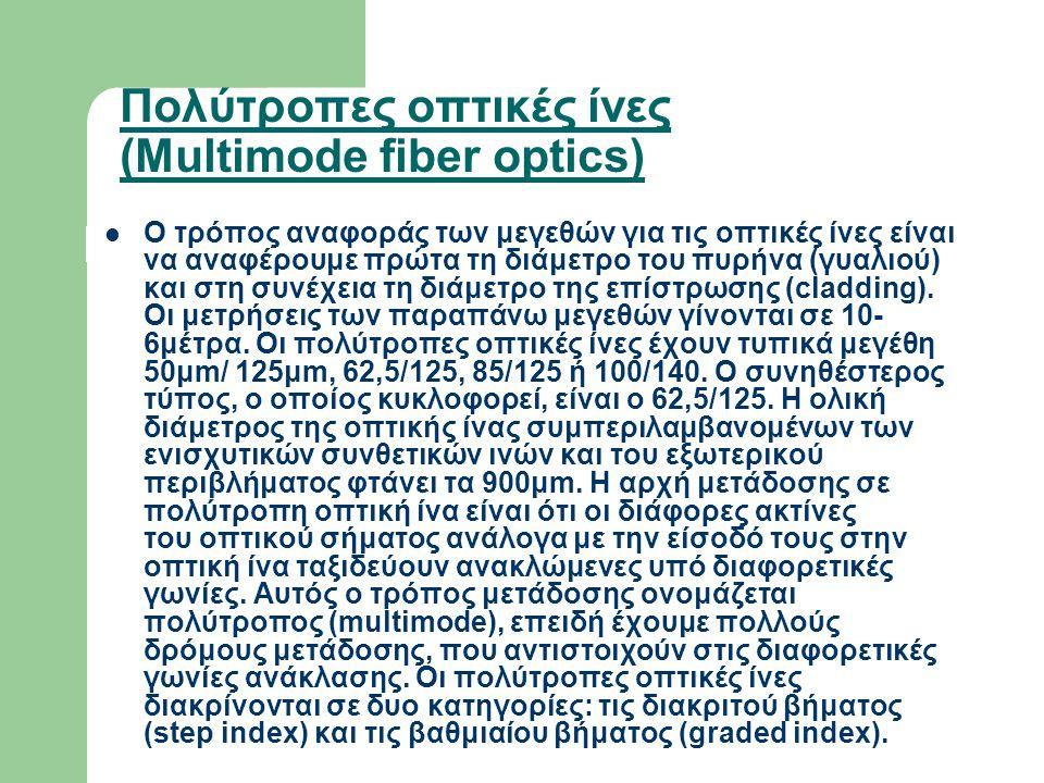 Πολύτροπες οπτικές ίνες (Multimode fiber optics)  Ο τρόπος αναφοράς των μεγεθών για τις οπτικές ίνες είναι να αναφέρουμε πρώτα τη διάμετρο του πυρήνα