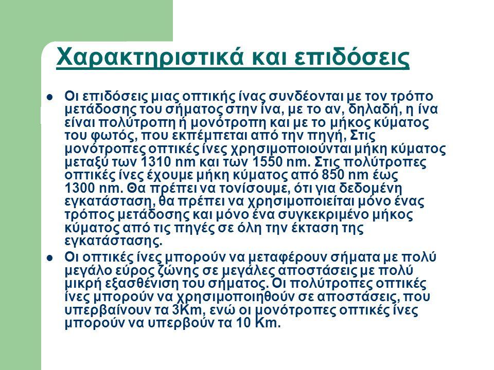 Χαρακτηριστικά και επιδόσεις  Οι επιδόσεις μιας οπτικής ίνας συνδέονται με τον τρόπο μετάδοσης του σήματος στην ίνα, με το αν, δηλαδή, η ίνα είναι πο