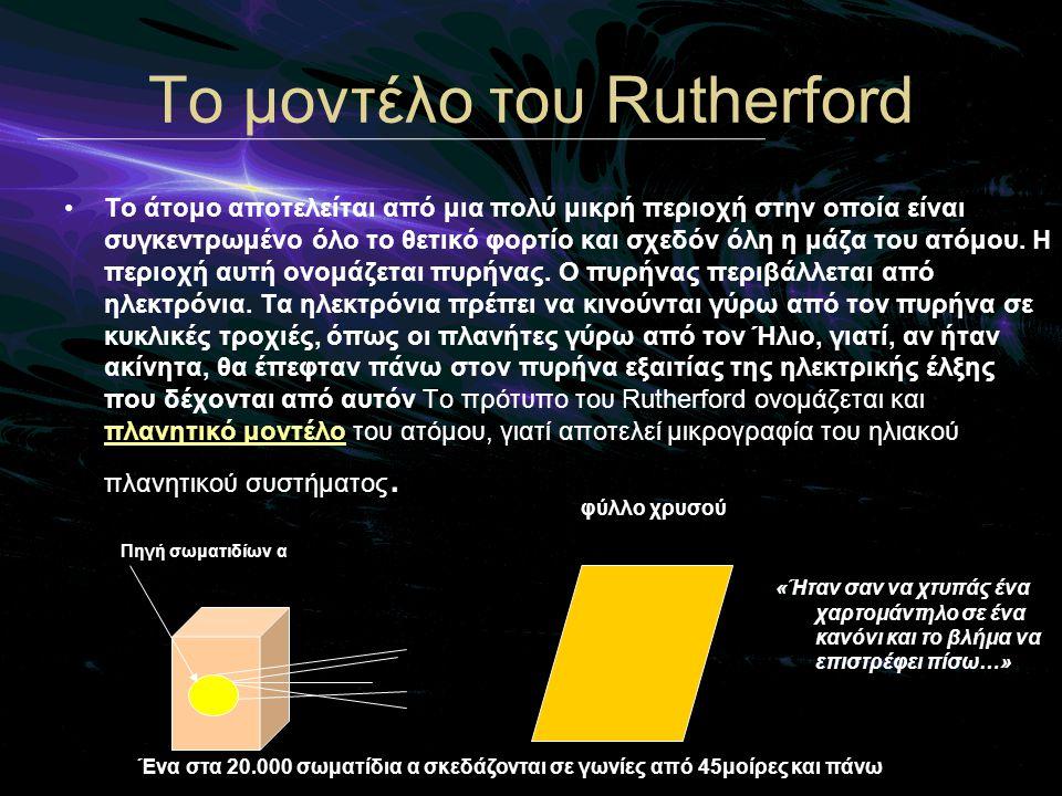 «Ήταν σαν να χτυπάς ένα χαρτομάντηλο σε ένα κανόνι και το βλήμα να επιστρέφει πίσω…» Τo μοντέλο του Rutherford •Το άτομο αποτελείται από μια πολύ μικρ