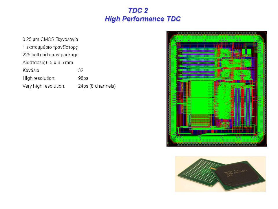 TDC 2 TDC 2 High Performance TDC 0.25 μm CMOS Τεχνολογία 1 εκατομμύριο τρανζίστορς 225 ball grid array package Διαστάσεις 6.5 x 6.5 mm Κανάλια 32 High