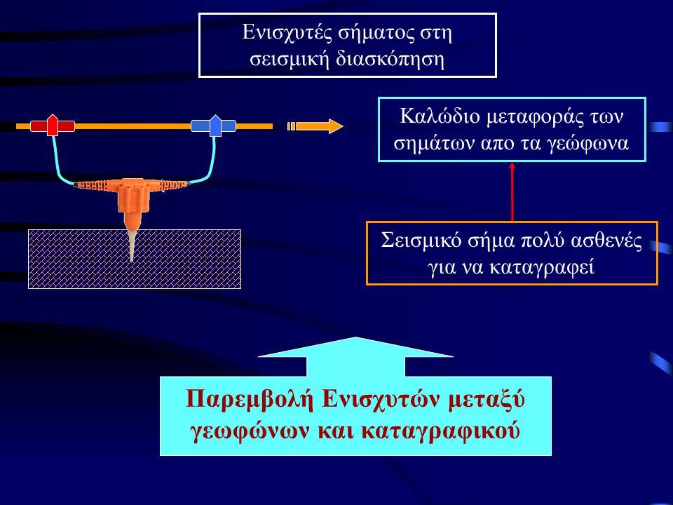 Ενισχυτές σήματος στη σεισμική διασκόπηση Σεισμικό σήμα πολύ ασθενές για να καταγραφεί Καλώδιο μεταφοράς των σημάτων απο τα γεώφωνα Παρεμβολή Ενισχυτώ