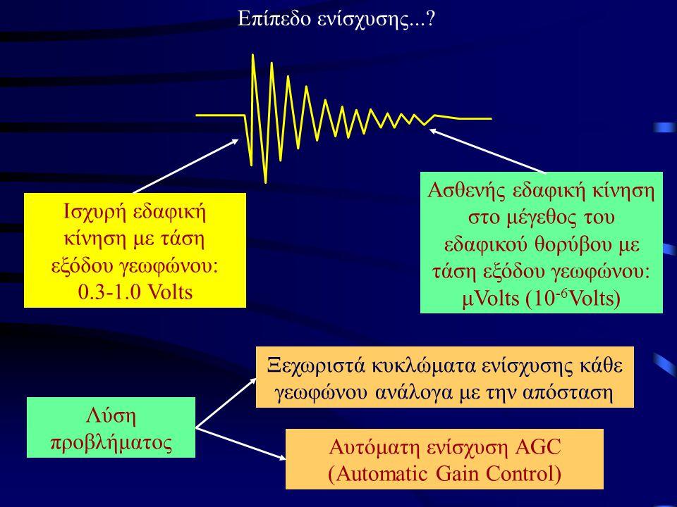Ισχυρή εδαφική κίνηση με τάση εξόδου γεωφώνου: 0.3-1.0 Volts Ασθενής εδαφική κίνηση στο μέγεθος του εδαφικού θορύβου με τάση εξόδου γεωφώνου: μVolts (