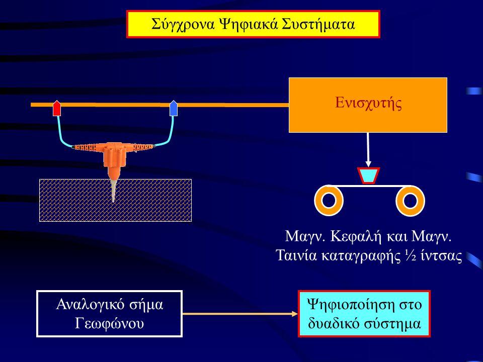 Σύγχρονα Ψηφιακά Συστήματα Ενισχυτής Μαγν. Κεφαλή και Μαγν. Ταινία καταγραφής ½ ίντσας Αναλογικό σήμα Γεωφώνου Ψηφιοποίηση στο δυαδικό σύστημα
