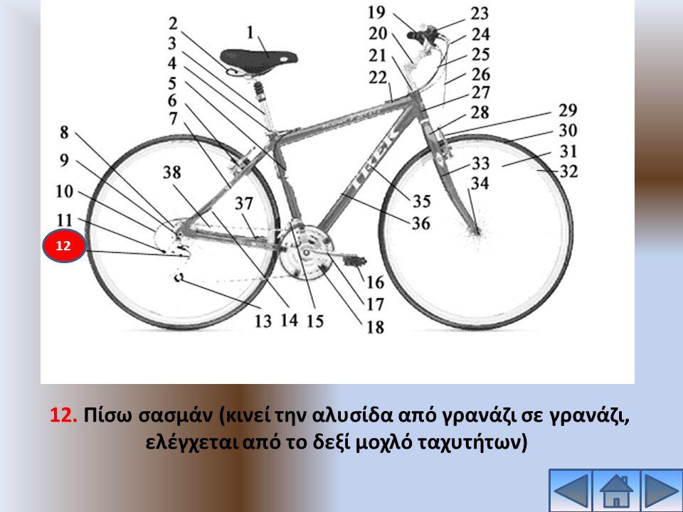 12. Πίσω σασμάν (κινεί την αλυσίδα από γρανάζι σε γρανάζι, ελέγχεται από το δεξί μοχλό ταχυτήτων) 12